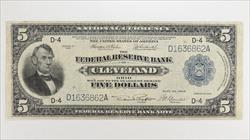 1918 $5 Federal Reserve Bank of Cleveland,  Circulated Extra Fine