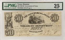 1838-39 $50 Government of Texas, December 27, 1838 S/N 277 PMG VF 25 TXCRH21