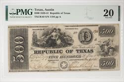1839-41 $500 Republic of Texas ,  SN 1194 PMG VF 20