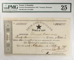 Texas, Columbia 1837 Treasury Warrant TXCRC16a S/N 2632 PMG 25VF