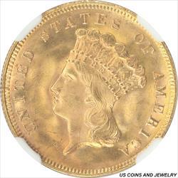 1878 Indian Princess Three Dollar Gold Piece NGC MS65+ RARE Low Mintage Coin