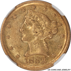 1852-D Dahlonega Liberty $5 Gold Half Eagle NGC AU55