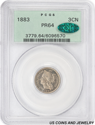1883 3 Cent Nickel Proof OGH PCGS CAC