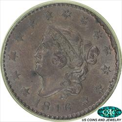 1816 Coronet Large Cent PCGS and CAC MS63BN Old Green Holder with Green Insert Ring
