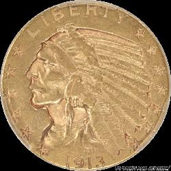 1913-S Indian $5 Gold Half Eagle PCGS AU50 - Nice Original Condition