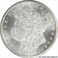 1885-CC Morgan Silver Dollar GEM BU Frosty Satin White  PQ+
