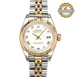 Rolex 26mm Datejust Ref/79173 TT SS & 18K YG White Roman Watch and Papers