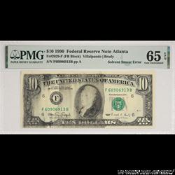 1990 $10 FRN Solvent Smear Error PMG  GU 65 EPQ Fr#2029-F (FB Block) S/N F60906913B