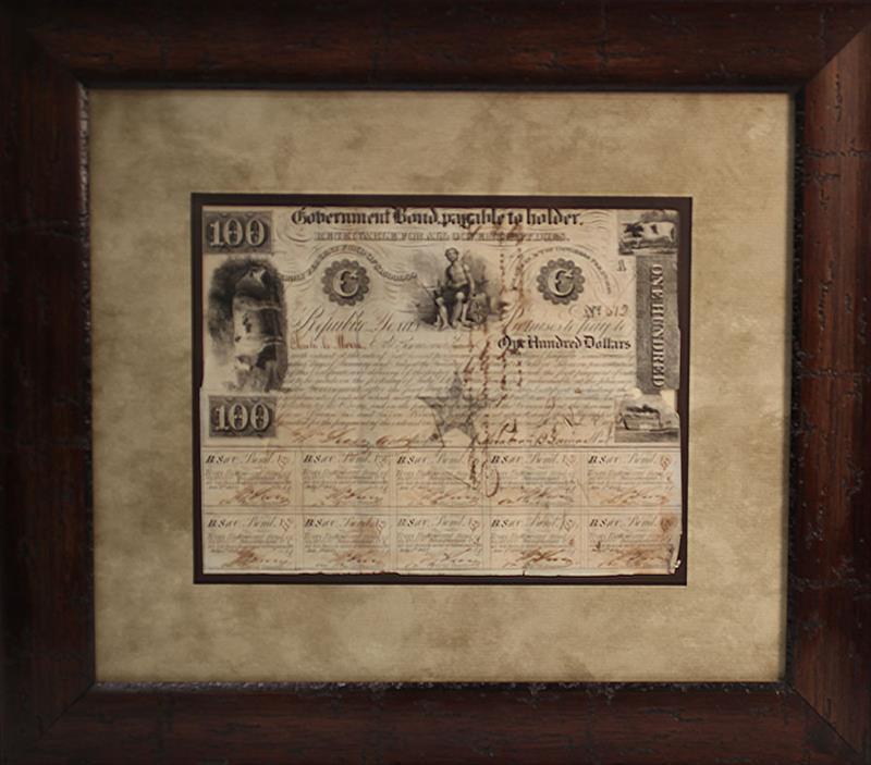 REPUBLIC OF TEXAS GOVERNMENT BOND $100