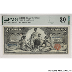 1896 $2 Educational Silver Certificate PMG VF30 Fr.  248 - Nice Note