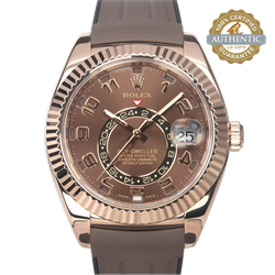 Rolex 42mm Sky-Dweller 326135 Chocolate Dial w 18K RG and  Oysterflex With Card and Box
