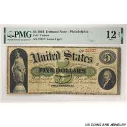 1861 $5 Demand Note - Philadelphia PMG Fine 12 Net Fr. 2, S/N 22527