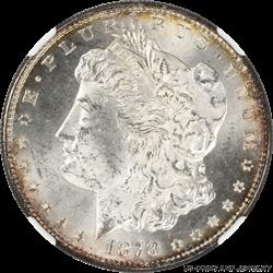 1878-S Morgan Silver Dollar NGC MS63 Light golden Halo over a Cartwheel Luster