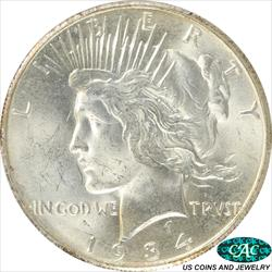 1934-S PEACE Dollar PCGS and CAC MS64 Frosty White Choice BU
