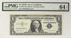 $1 1957 Silver Certificate PMG CU64 EPQ