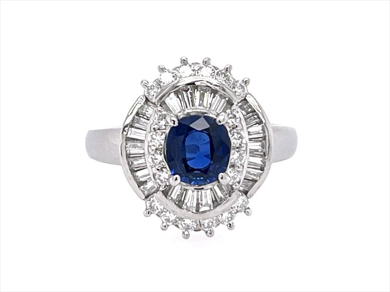 1.01ct Natural Blue Oval Cut Sapphire Ring with Diamond Halo in Platinum Setting
