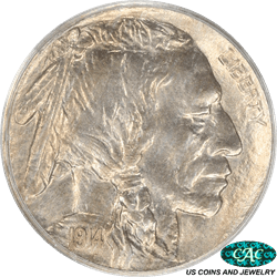 1914 Buffalo Nickel, White, Old Green Tag PCGS Holder Matte Proof  67 CAC