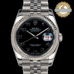 Rolex 36mm DateJust 116234 18K WG Fluted Bezel Arabic Dial Watch Only