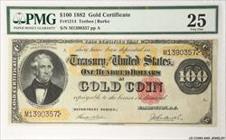 1882 $100 Gold Certificate FR#1214 PMG