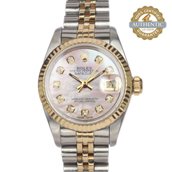 1989 Rolex 26mm Date Just 69173 TT SS & YG 10 Diamond MOP Dial  Complete with Box books and papers