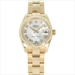 Rolex 31mm Datejust 18K YG MOP Roman Dial box and papers
