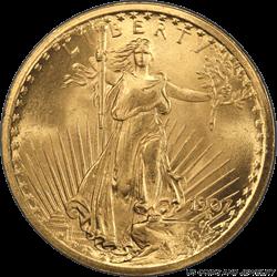 1907  Saint Gaudens $20 Gold Double Eagle PCGS MS66+ Super Frosty Cartwheel Luster