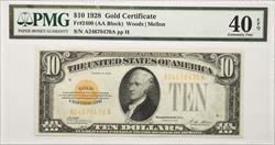 $10 1928 Gold Certificate PMG  EF40 S/N A24678470A pp H