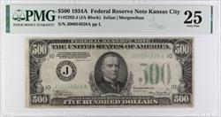 $500 1934 A Federal Reserve Note,  J00054828A  PMG VF 25, Fr.-2202-J