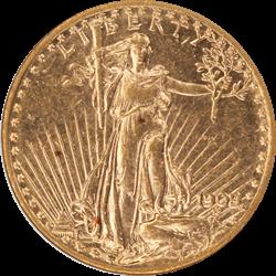 1909/8 Saint St. Gaudens $20 Gold Double Eagle Old Holder ANACS AU 58