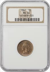 1862 Indian Cent NGC MS64