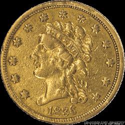 1836  Script 8 Classic Head $2 1/2 Gold Quarter Eagle Choice XF+/AU