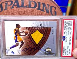 PSA Certified 2003 Ultimate Collector Buyback Kobe Bryant Game-Used Jersey Patch Autographed Card