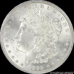 1898 Morgan Silver Dollar PCGS MS66 PQ + Rolling Thunder White