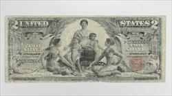 1896 $2 Silver Certificate S/N 20300266 $2 Educational  Circulated Fine