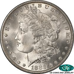 1883 Morgan Silver Dollar PCGS and CAC MS66 Frosty White Cartwheel Luster