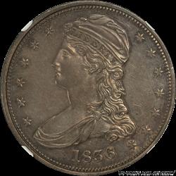 1836 Capped Bust Half Dollar Reeded Edge NGC MS 62 Nice Original Patina