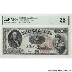 1880 $50 Legal Tender FR#155 PMG  VF 25 SN# Z17909 Gilfillan Bruce