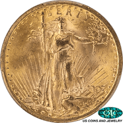 1907  Saint St. Gaudens $20 Gold Double Eagle PCGS and CAC MS64+