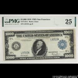 $1000 1918 Federal Reserve Note San Francisco PMG VF 25 FR. 1133-L; Rare Note Super Nice