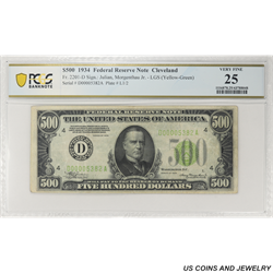 1934 $500 Federal Reserve Note, Fr. 2201-D, Cleveland, PCGS 25 Very Fine