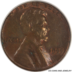 1955  DDO Lincoln Cent PCGS MS63RB Rare Double Die Variety
