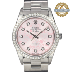 Rolex 34mm Air-King 14000M Pink Floral 11 Diamond Dial and Diamond Bezel Z SERIAL