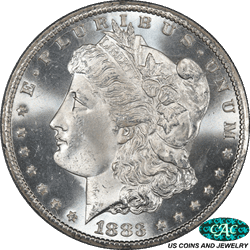 1883-CC Morgan Silver Dollar PCGS and CAC MS66 Frosty White Deep Strike
