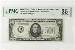 1934-A $500 Federal Reserve Note, New York,  Fr. 2202-B SN B00327253A PMG CVF 35