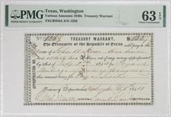 Texas, Washington 1840S $132 Treasury Warrant PMG CU63 EPQ TXCRW6A SN# 1359