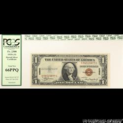 1935A $1 WW II Hawaii Silver Certificate PCGS  GN 66 PPQ Fr#2300
