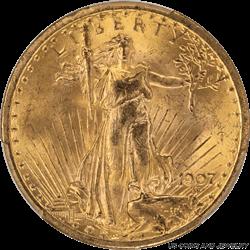 1907  Saint St. Gaudens $20 Gold Double Eagle PCGS MS64