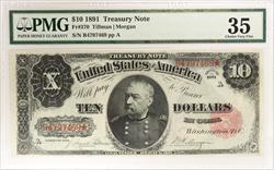 1891 $10 Treasury Note PMG CVF35 FR#370 Tillman Morgan SN# B4797469