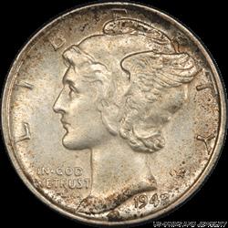 1942/1 Mercury Dime PCGS MS 64