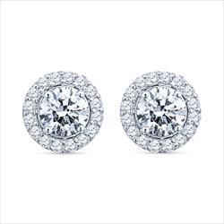 2.32cttw Nice Round Brilliant Diamond Halo Studs in 18k White Gold